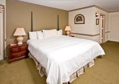 White bed in room with green carpet